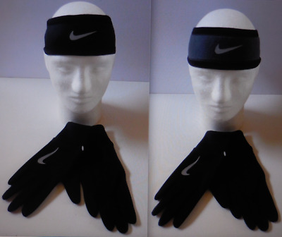 NIKE Women s Running Thermal Glove Reversible Headband Set 2.0 Size M L New 1fc7e20fda2
