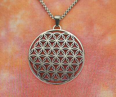 Large Flower of Life Necklace, Sacred Geometry Symbol Charm Pendant Custom Chain