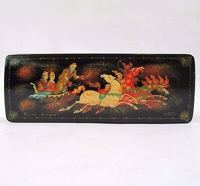 Russian Lacquer Trinket Box Palekh Winter Troika Hand Painted Signed Granin USSR