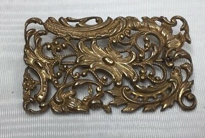 Antique Vintage Victorian Pressed Repousse Brass Pin Brooch