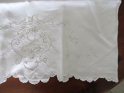 Antique Single Pure White Pillowcase with Embroidery and Cutwork Excellent Cond.