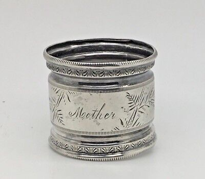 Silverplate Napkin Ring Holder Mother Ornate Edge  Gift For Mom Silver Plated