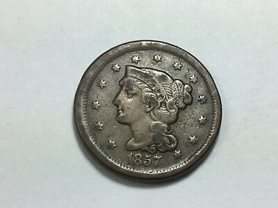 1857 Braided Hair Large Cent, N-4, Small Date