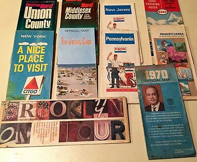 Lot of 10 Vintage Automotive Road Maps from 1960's, Exxon, Citgo, Hess, Esso etc