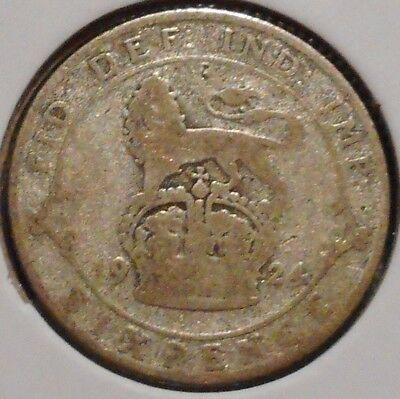 British Silver Sixpence - 1924 - King George V - $1 Unlimited Shipping