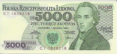 Poland 5000 Zlotych, 1988 National Bank of Poland Banknote, Pick #150