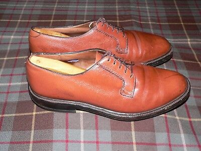 Hanover LB Sheppard Brown Pebble Grain Leather Plain Toe Blucher, Sz 10.5 E/C