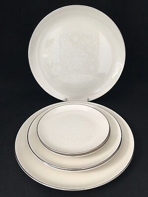 Pickard Damask china 6 Pieces of Ivory with White scrolls