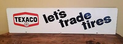 """Texaco Advertising Tires Sign 48"""" x 12""""-Double Sided-Original Dealer Display"""