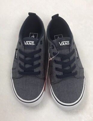 2603264fdf7c7a Vans Bishop Slip On Chambray Blue White Youth Boy Girl Shoes Size 12.5
