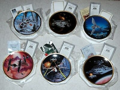 Star Wars SPACE VEHICLES Hamilton Collection Decorative Plate 6pc Lot 1994 1995