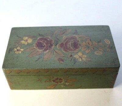 antique wooden toll painted trinket box 6.5 x 3.5 x 2.25 green roses