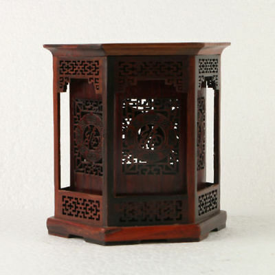 Chinese Rosewood Pen holder Handwork Carved Polygon Hollow Brush Pot