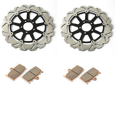Front Brake Discs Rotors + Pads for Kawasaki ZZR1100 93-01 ZZR 1200 02-04 ZX9R
