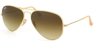 Ray Ban Aviator Classic RB 3025 112/85 Matte Gold Sunglasses Brown Gradient 58mm