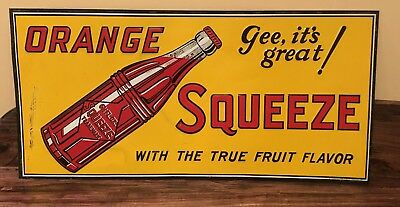 Vintage Orange Squeeze Drink Sign-Tin Antique Soda Cola Advertising 1930's