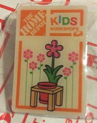 New The Home Depot Kids Workshop Flower Planter Pin Metal Collectible Very Rare