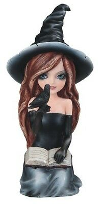 """7"""" Black Witch Girl with Crow & Book Halloween Decor Figure Gothic Figurine"""