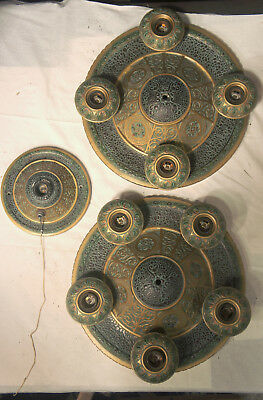 SET of Gorgeous and LARGE Vintage 1920s Light Fixtures, Two Ceiling, One Wall