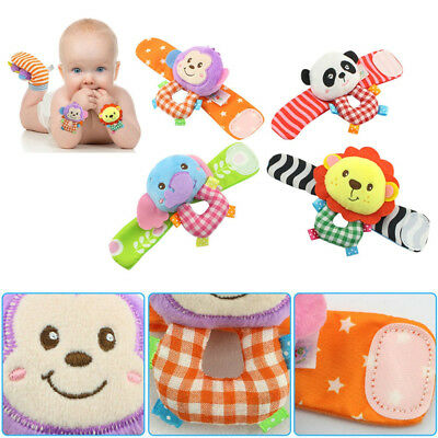 2pc Cute Newborn Baby Boy Girl A Infant Soft Toy Wrist Rattles Finders Wristband