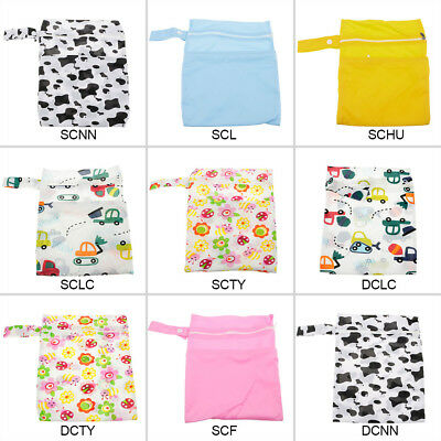 New Waterproof Zip Wet/Dry Bag for Baby Infant Cloth Diaper Nappy Pouch Reusable