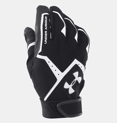 Under Armour UA Clean Youth Size YLG Batting Gloves Black /White New
