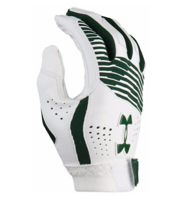 Under Armour UA Cleanup White/Green Batting Gloves YMD Youth Medium New