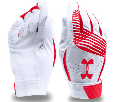 Under Armour UA Clean Up Baseball Batting Gloves LG Large White/Red 1299530 600