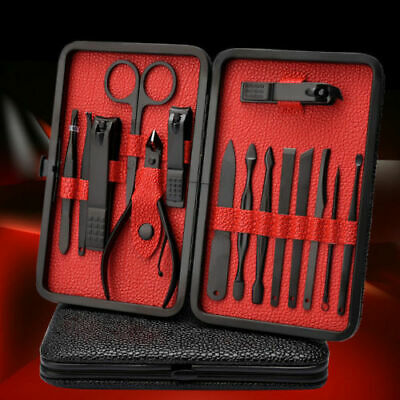 18 Manicure Nails Pedicure Set Pro Men's Nail Grooming Cutting Travel Tools Case