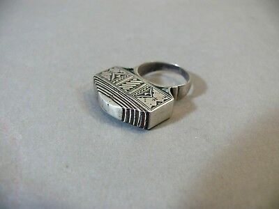 Unusual Antique African Moroccan Silver Multi-Layered 3D Tribal Ring Sz 7