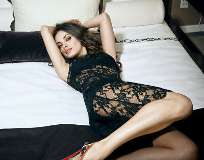 GLOSSY PHOTO PICTURE 8x10 Mila Kunis Posing In Black Lace Dress