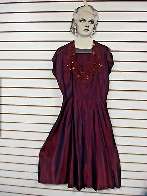 Gorgeous 1950's Taffeta Dress Full Skirt Lace & Crystal Trim Iridescent Red szM