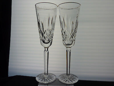 """Pair(2) Waterford Lismore Gold Rim Champagne Flutes 8 3/4"""" Happy Anniversary"""
