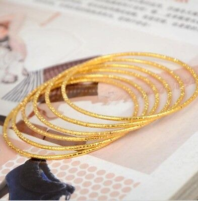 Hot Etched 4Mm Patterned Girls/womens  Yellow Gold Plated  Bangle