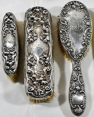 Lot 3 Antique Sterling Silver Brushes Ornate Repousse