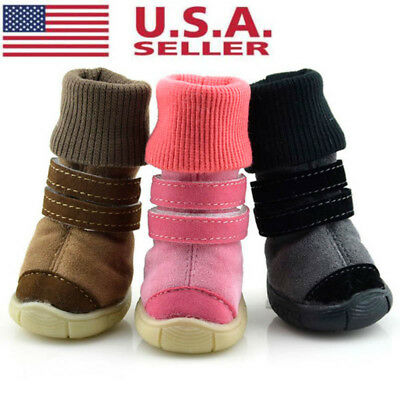 4pcs Pet Dog Winter Anti-Slip Shoes Puppy Snow Boots Warm Booties Waterproof USA
