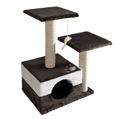 70cm Cat Scratching Tree Gym Post - White and Dark Grey