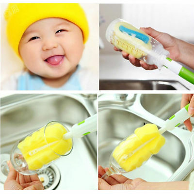 Kitchen Handle Sponge Brush Baby Milk Bottle Cup Glass Washing Cleaning Tools