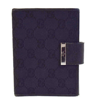 Authentic GUCCI GG Pattern Agenda Cover Day Planner Canvas Leather Black 08V2334