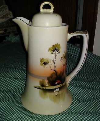 Vtg Shofu Nippon Hand Painted Tree in Meadow Chocolate Pot Swan Water House EXC