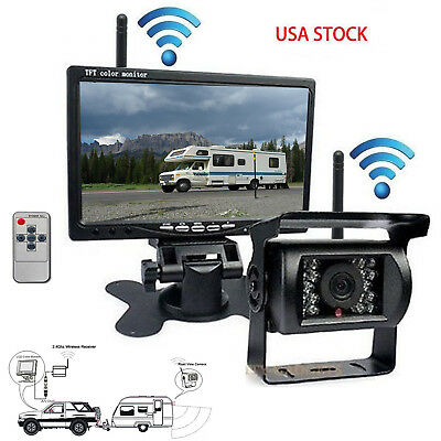 """7"""" Wireless Rear View Monitor Kit Built-in Backup Camera System for Bus Truck/RV"""