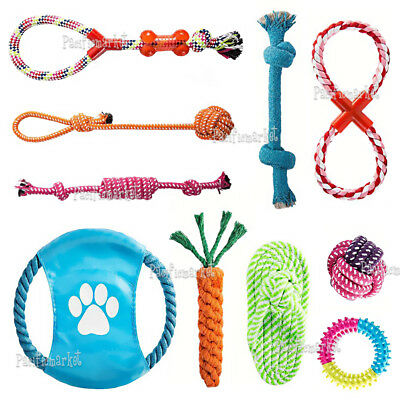 10x Dog Chew Knot Toys Teddy Pet Puppy Teeth Bear Braided Tough Strong Rope