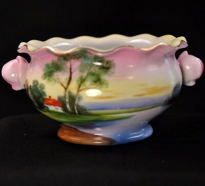 Noritake Rose Bud Handle Bowl Hand Painted Tree House Lake Meadow 1918-1931 Gold