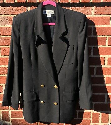 Vintage Christian Dior Black Wool Double Breasted Buttons V-Neck Blazer 12