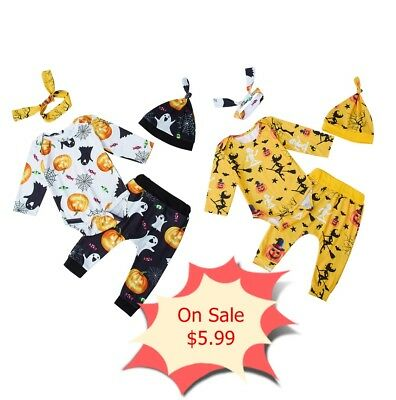 4Pcs Newborn Baby Girls Boys Bodysuit Outfits Pants Set Playsuit with Hairband