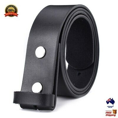 Luxury Mens Solid Strap Genuine Leather Belt Replace Without Pin Buckle Snaps