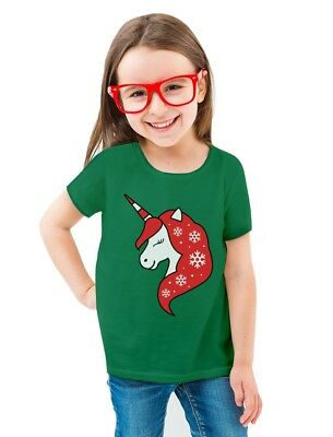 Christmas Unicorn Holiday Girls Xmas Outfit Toddler/Kids Girls' Fitted T-Shirt