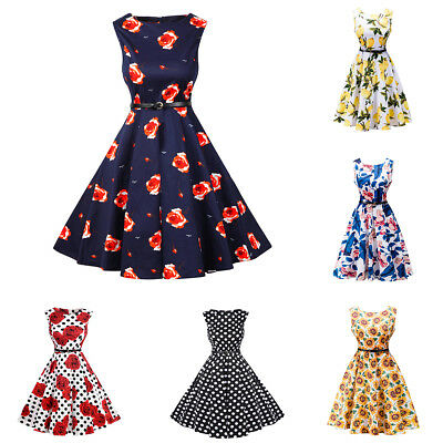 Women Vintage 50s 60s Floral Rockabilly Evening Party Cocktail Retro Swing Dress