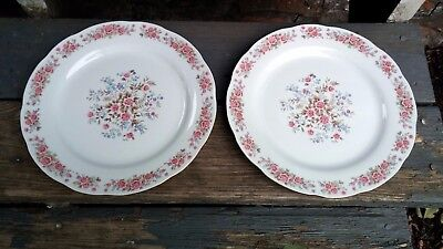 """2 Remington Red Sea Fine China of Japan Pink Roses Gold Trim 10.5"""" Dinner Plates"""