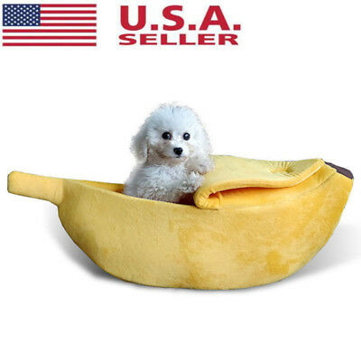 Warm Pet Dog Cat Bed Nest Banana Shape Fluffy Warm Plush Fleece Home Bed US